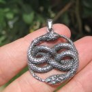 925 Silver Snake Pendant Necklace Thailand jewelry Art A12