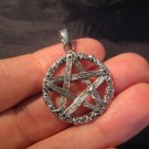 925 sterling silver wicca pentagram pendant necklace jewelry art     AA