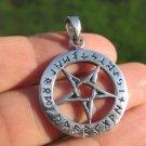 925 Sterling Silver Wicca Inverted Pentagram Pendant Necklace A32