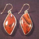 925 Silver Red Tiger Tiger's Eye crystal earrings   A