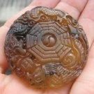 Natural agate Carnelian Onyx chinese Dragon calendar stone pendant amulet A45