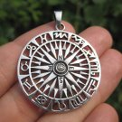 925 Silver compass pendant necklace Thailand jewelry art A2
