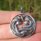 925 Silver Snake Pendant Necklace Thailand jewelry Art A26