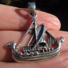 925 silver celtic viking ship pendant necklace Thailand jewelry art A15
