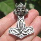 925 Silver Viking Skull Helmet Mjolnir Mjolhner Hammer of Thor Pendant A21
