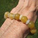 Natural  Honey Jade bead  bracelet Jewelry  mineral stone art A99