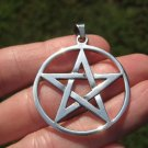 Extra Large 925 Silver Pentagram Pentacle Pendant Necklace jewelry art A40