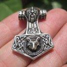 925 Silver Viking Mjolnir Mjolhner Odin Wolf Hammer of Thor Pendant A17