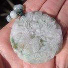 Jadeite Jade Dragon Pendant Amulet Stone Mineral Art Burma Myanmar A16