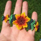 Huichol Bead Indian Flower Bracelet Jewelry Art Hand Made Guadalajara Mexico A9