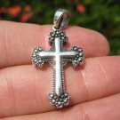 925 Silver Christian Cross Fine Filigree Detail Pendant Necklace A25