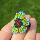 Huichol Bead Indian Ring Guadalajara Mexico jewelry art Size 8 - 10 US