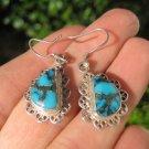 925 Silver Tibetan Turquoise earrings earring jewelry mineral stone  art A87