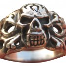 925 Sterling  Silver Skull Flames Ring Thailand Jewelry Art A3