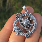 925 Silver Dragon Pendant Necklace Jewelry Art