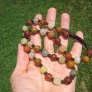 Natural  Honey Agate Green Jade bead necklace stone carving jewelry art A92