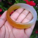 Natural honey White orange Jade Agate Carnelian Stone Bangle Bracelet  EB415