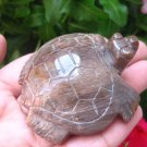 Natural Petrified Wood Turtle  Carving Statue Northern Thailand EB 484