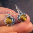 925 Silver Tiger Tiger's Eye crystal earring earrings A