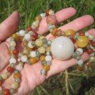 Natural  Honey Jade bead necklace Jewelry  mineral stone art E5002