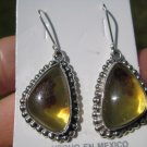 925 Silver Natural Chiapas  Amber Earrings Ear ring Taxco Mexico Jewelry Art A22