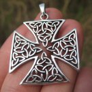 925 Silver Celtic style Iron Cross Knights Cross Pendant necklace jewelry A20