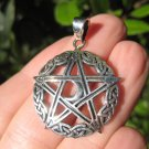 925 Sterling Silver Celtic Star Moon Wicca Pentagram Pendant Necklace Wicca A45
