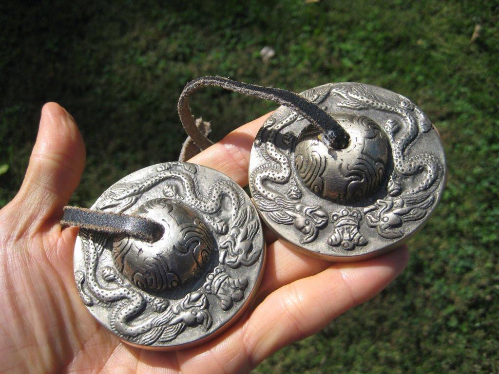 "Large Original Nepal Tingsha Bell Bells Dragon design 2.7"" Purchased in Nepal"