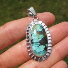 925 Silver Natural Turquoise Stone Pendant Necklace Taxco Mexico Jewelry Art A12