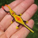 Huichol Bead Indian Gecko Lizard Necklace Jewelry Art Hand Made Mexico A42
