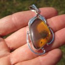 925 Silver Natural Chiapas  Amber Pendant Necklace Taxco Mexico Jewelry Art A39