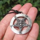 Metal Pewter inverted pentagram Baphomet Satanic Goat Head Pendant Necklace A5