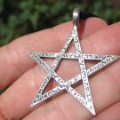 Pewter pentagram pentacle Pendant Necklace A21