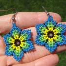 Huichol Bead Indian Flower Earrings earring jewelry Art Hand Made Mexico