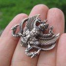 Silver Color Brass Metal Garuda Bird Snake Bite Amulet A4