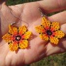 Huichol Bead Indian Earrings Ear Rings Jewelry Art Hand Made Mexico A48
