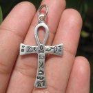925 Silver Egyptian Ankh Cross Crux Ansata Pendant Necklace A12