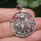 925 Silver Pentagram Pentacle Goat Head Baphomet Pendant Necklace A18
