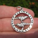 925 Sterling Huginn Muninn Raven birds of Odin Viking Germanic Runes Pendant A4