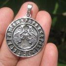 925 Sterling Huginn Muninn Raven birds of Odin Viking Germanic Runes Pendant A6