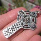 925 Silver Celtic Christian Irish English Knot Circle Cross Pendant A18