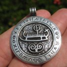 Large 925 Sterling Silver Viking Norse Boat Ship Runes pendant A4