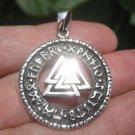 925 Silver Viking Norse Valknut Runes Triquetra  Pendant Necklace A10