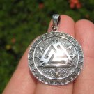 925 Silver Valknut Triquetra Triangle Norse Viking Germanic Pendant Necklace