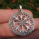 925 Silver Viking Norse Trident Aegishjalmr Helm of Awe Pendant Necklace