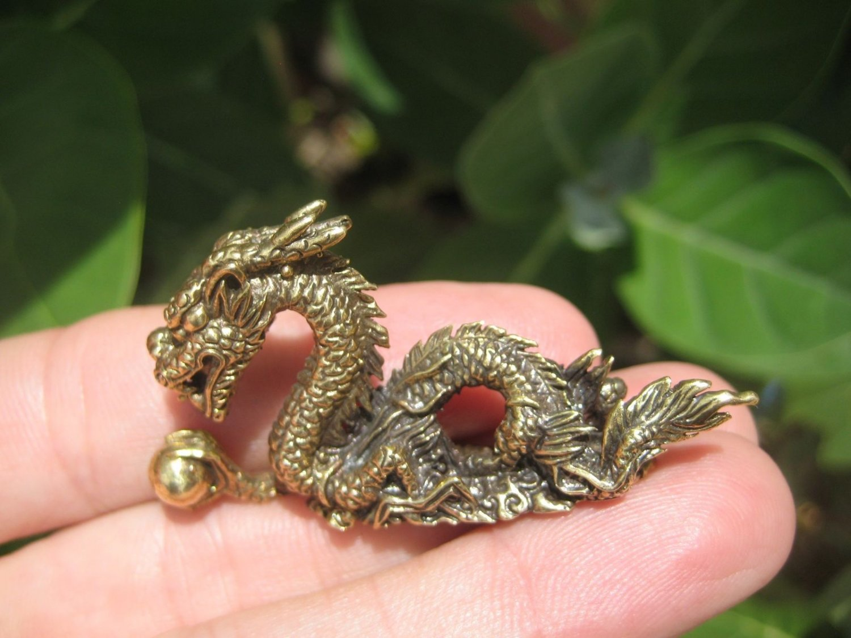 Brass Dragon Magic Statue Amulet Medieval  Statue Amulet Thailand A14
