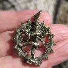 Brass Nataraja Shiva Dance of Destruction Pendant Amulet Necklace A784