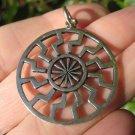 925 Silver Black Sun Wheel Sonnenrad Viking Germanic Pendant Necklace A312
