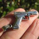 925 Silver Gun Revolver Pistol Pendant Necklace A2302