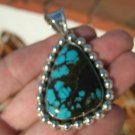 925 Silver Natural Arizona Turquoise Pendant Necklace Taxco Mexico A570